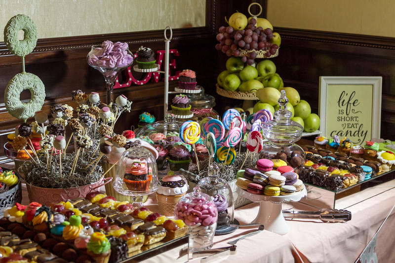 Candy buffet and desert table royalty free stock photos