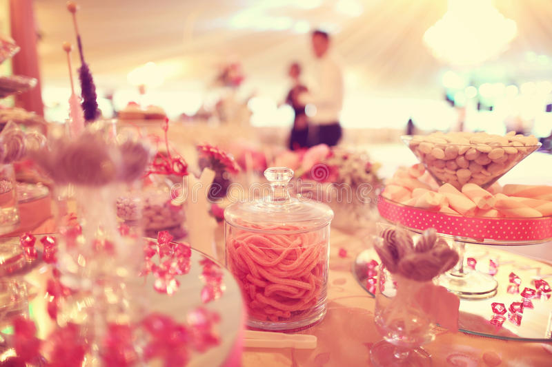 Candy buffet on table. Delicious Candy buffet on table royalty free stock photo