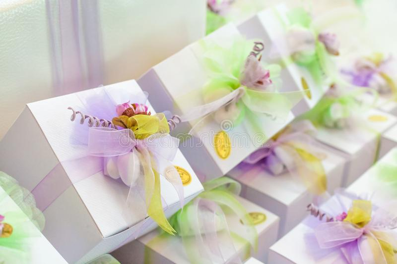 Wedding favors for wedding guests. Candy buffet and wedding favors on the table for wedding guests royalty free stock photography