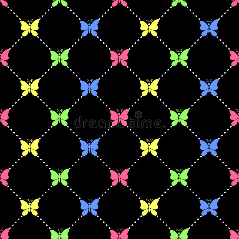 Candy butterflies. Seamless vector pattern with butterfly silhouettes, black background stock illustration