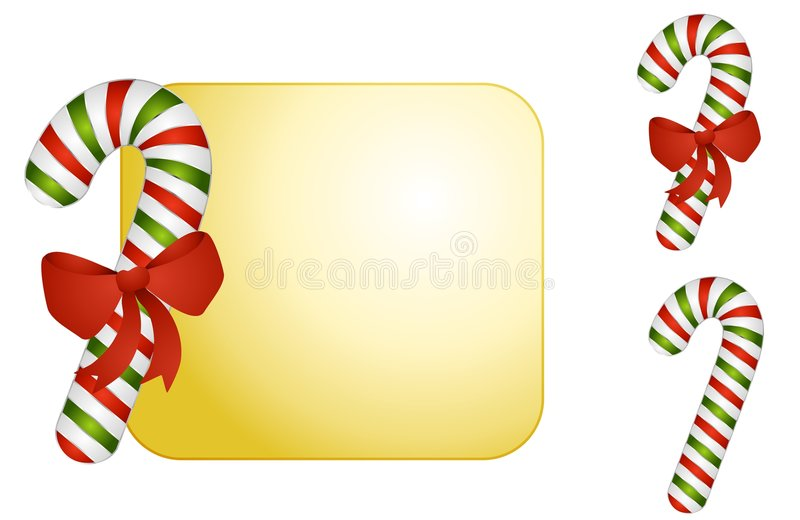 Candy Cane Background. A background featuring a candy cane with bow and extra candy cane clip art for various complimentary uses vector illustration