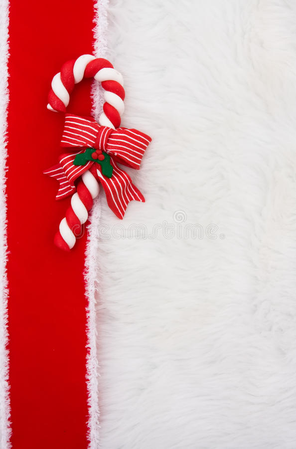 Candy Cane Border with fur royalty free stock images