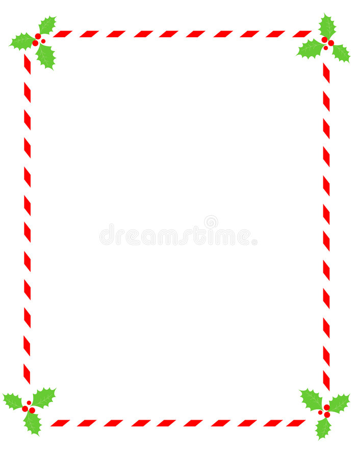 Free Candy Cane Border With Holly Stock Image - 6400871