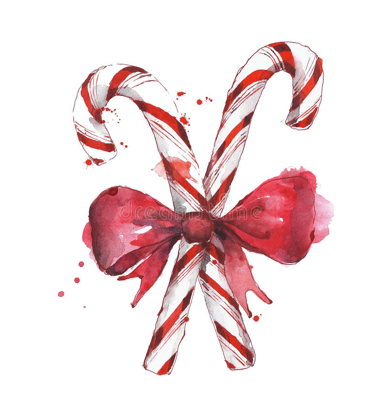 Candy cane with bow tie watercolor painting isolated on white vector illustration