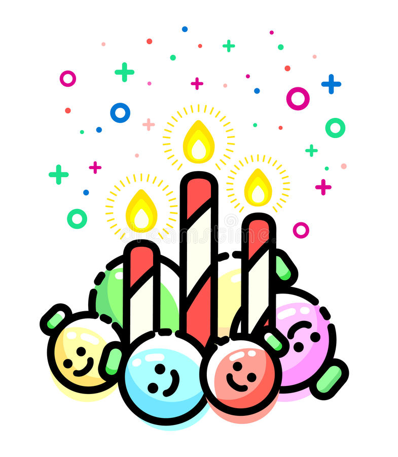 Candy cane candles with christmas ornaments. Xmas toys, sugar stick. Decorations. Flat line style balls. Vector merry greeting card. New year festive design royalty free illustration