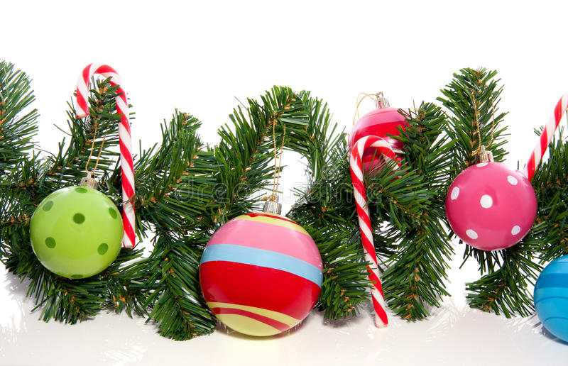 Download Candy Cane And Christmas Balls Stock Image - Image of green, background: 16767047