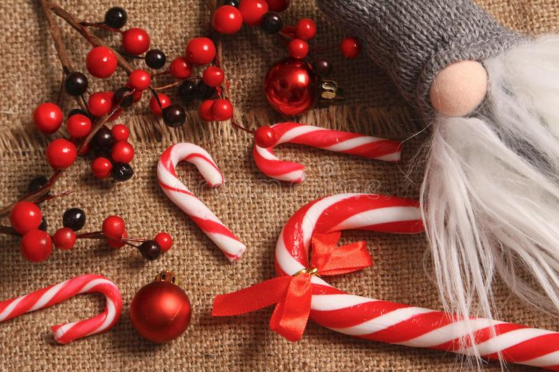 Christmas composition. Gifts, red decorations on linen background. Christmas, winter, new year concept. Flat la stock photos