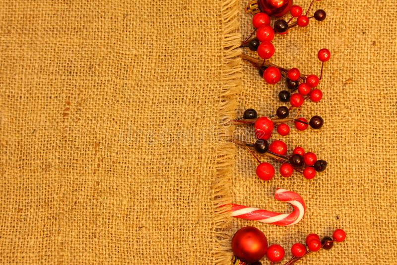 Christmas composition. Gifts, red decorations on linen background. Christmas, winter, new year concept. Flat la stock images