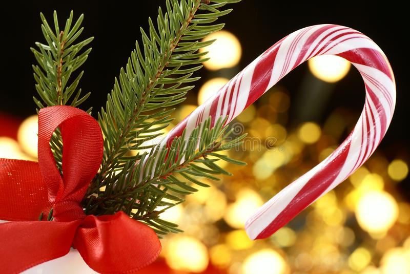 Candy cane. And Christmas decorations stock image