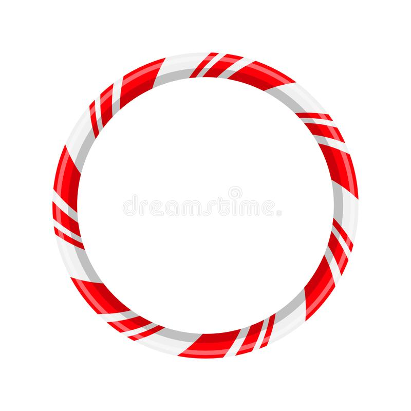 Candy cane circle frame for christmas design isolated royalty free illustration