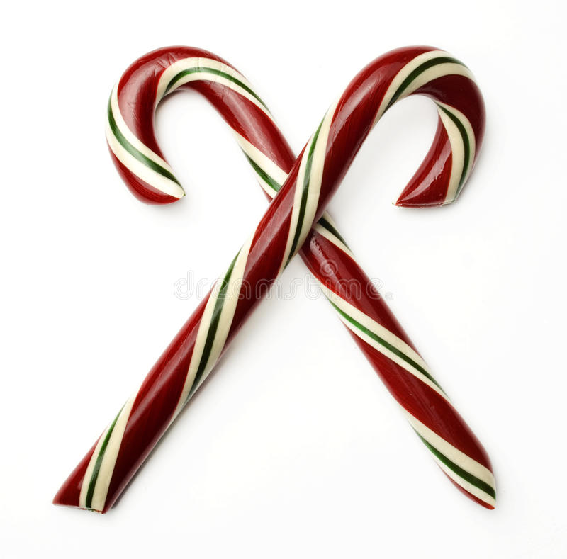 Candy Cane Crossed royalty free stock photos