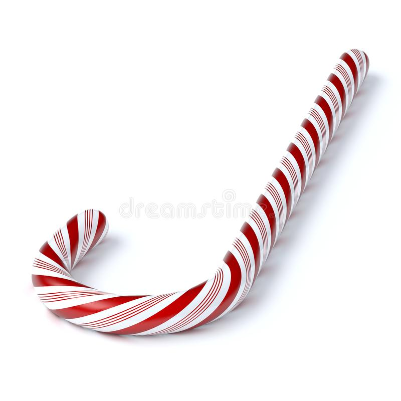 Candy Cane 3d illustration isolated on white stock illustration