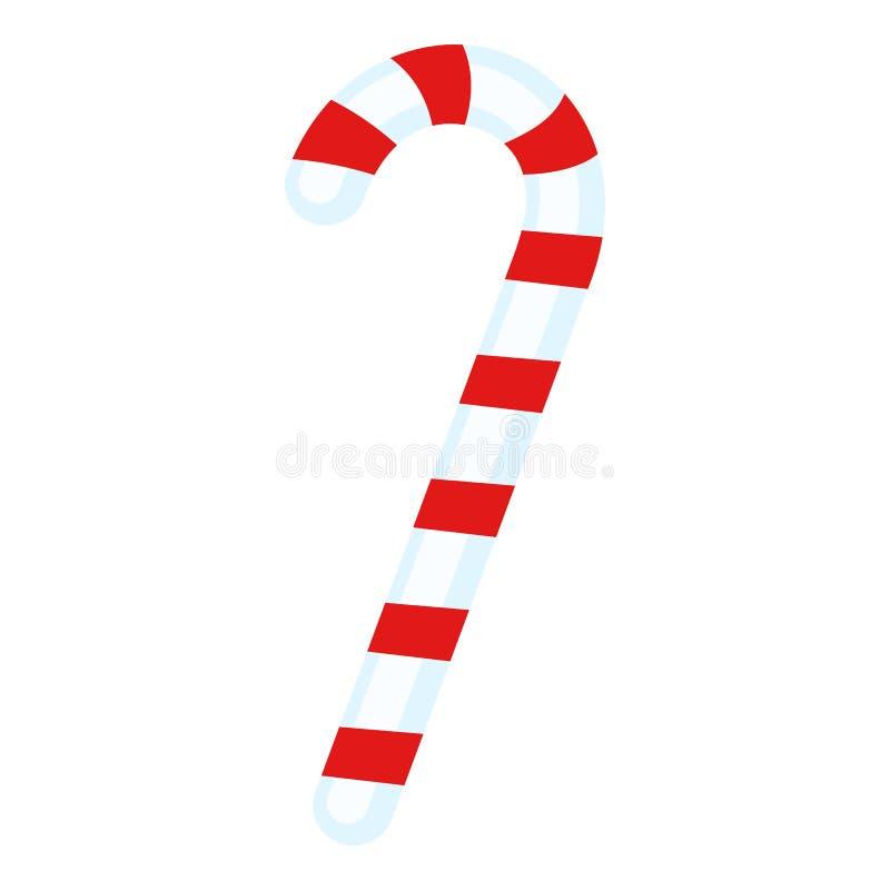 Candy Cane Flat Icon Isolated su bianco illustrazione vettoriale