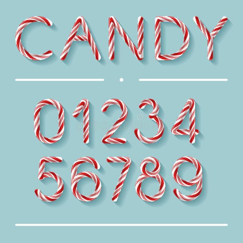 Candy Cane Font - numeri illustrazione vettoriale