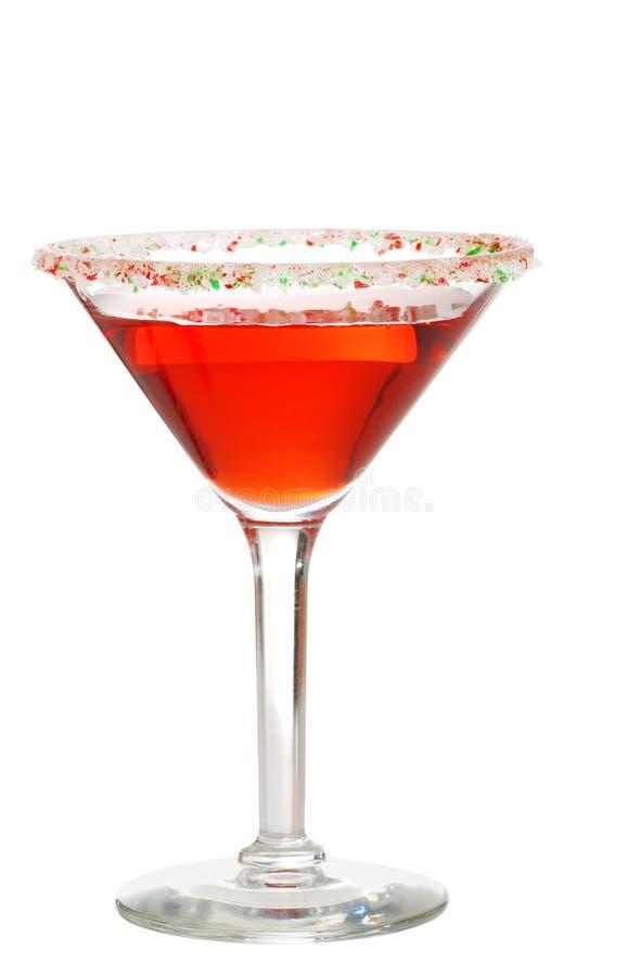 Candy cane garnished martini stock image