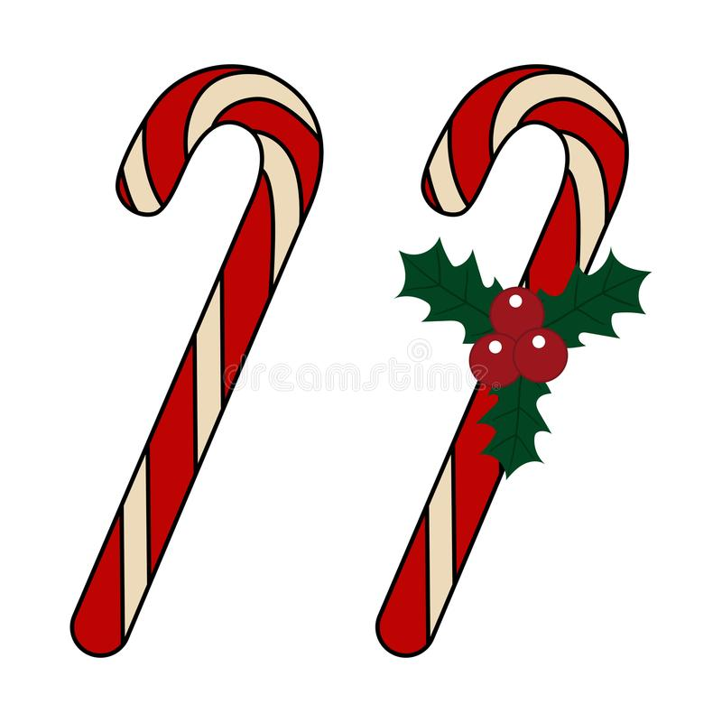 candy cane holly berries leaves icon christmas vector stock vector rh dreamstime com candy cane vector image candy cane vector clipart free