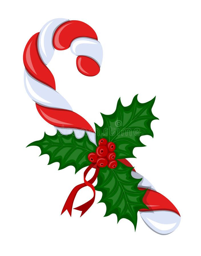 Candy cane with holly berries stock photography