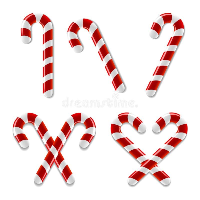 Candy Cane Icons illustrazione vettoriale
