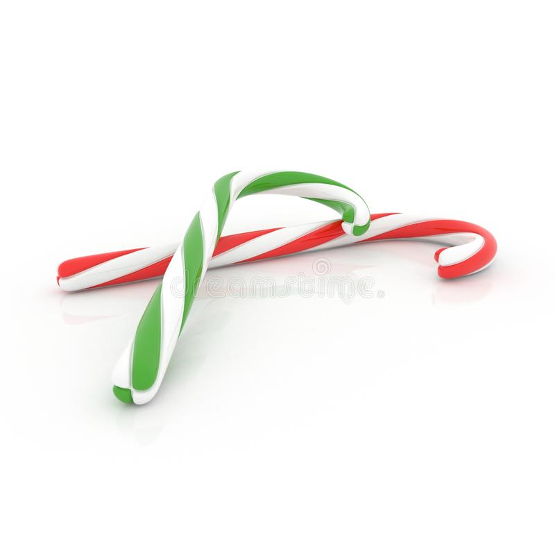 Candy cane isolated white background. 3d render stock photos