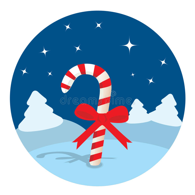Download Candy Cane In The Night Forest Stock Vector - Image: 11789724