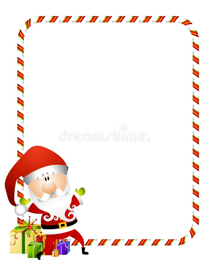 Candy Cane Santa Border vector illustration