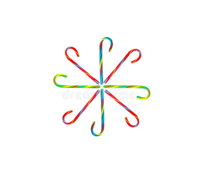 Candy Cane Snowflake su fondo bianco immagini stock