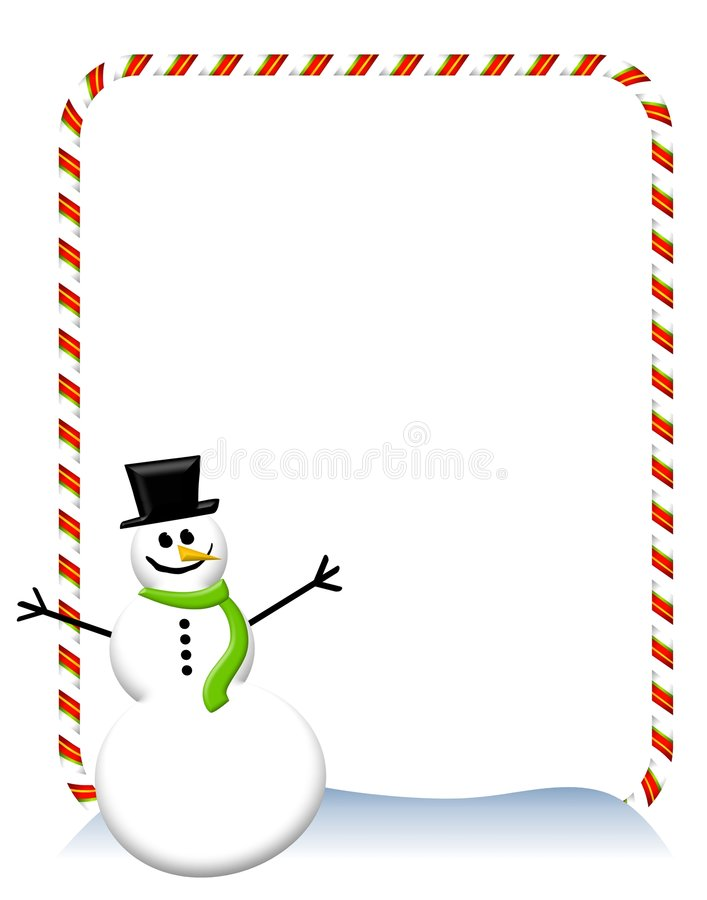 Candy Cane Snowman Border 2 stock illustration