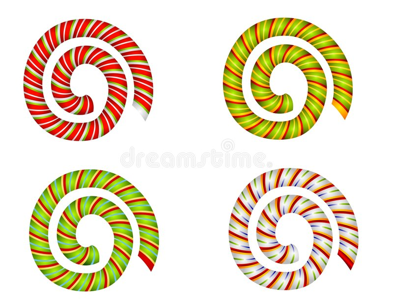 Candy Cane Swirls and Spirals stock illustration