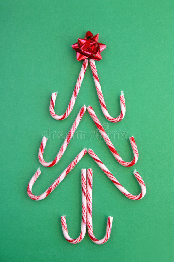 Candy Cane Tree on green background royalty free stock photo