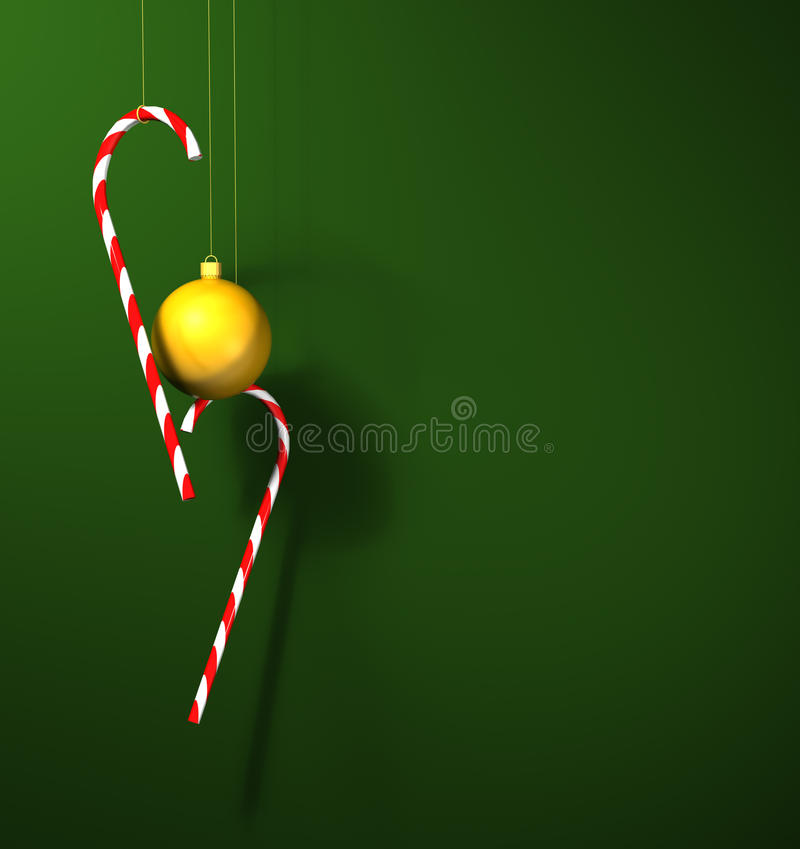 Candy Canes And A Bauble Royalty Free Stock Photos
