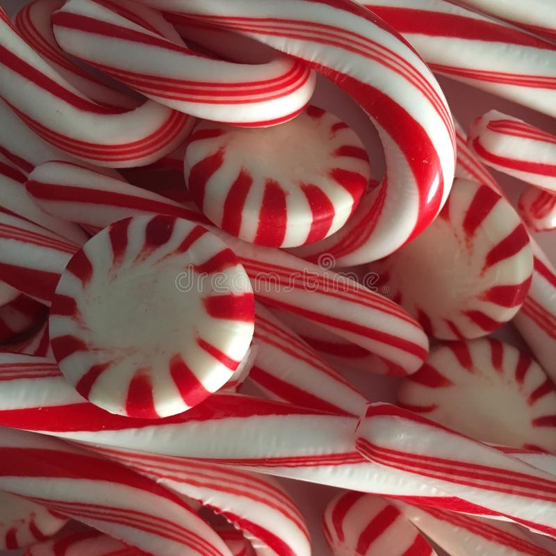 Candy Canes. And starlight mints for Christmas season stock photos
