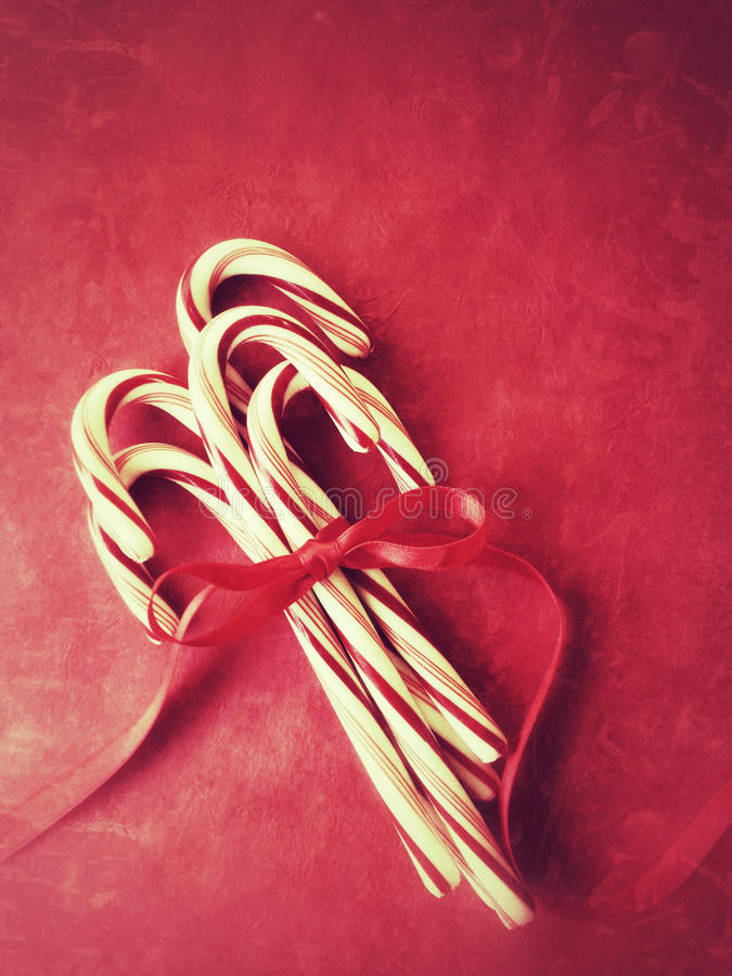Candy Canes With Red Ribbon Royalty Free Stock Images