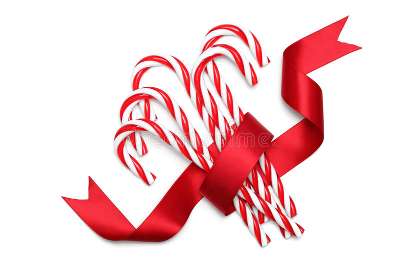 Candy canes tied with ribbon stock photo