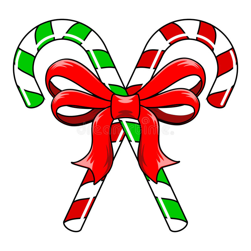 Free Candy Canes With Bow Stock Images - 48877284
