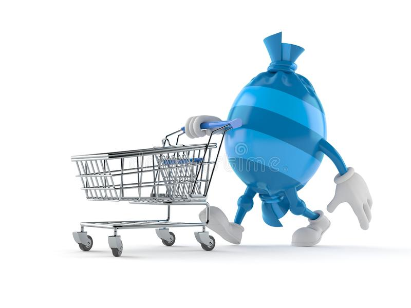 Candy character with shopping cart royalty free illustration