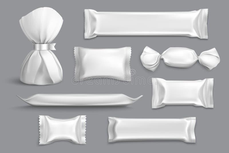 Candy che imballa spazio in bianco realistico illustrazione vettoriale