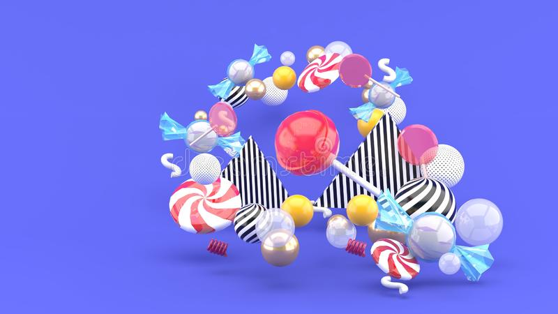 Candy among colorful balls on purple background stock illustration