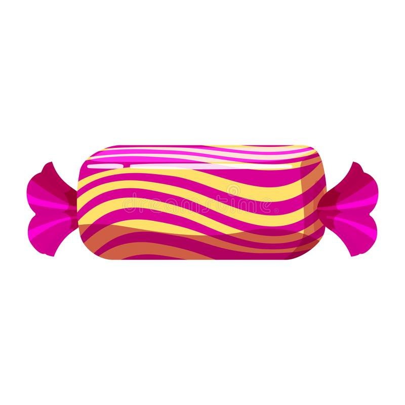 Candy colorful sweet. Bonbon candy in bright color packaging wrapping. Sugar sweet food dessert caramel chocolate royalty free illustration