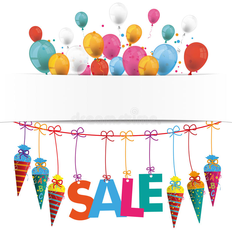 Candy Cones Banner Balloons Sale vector illustration
