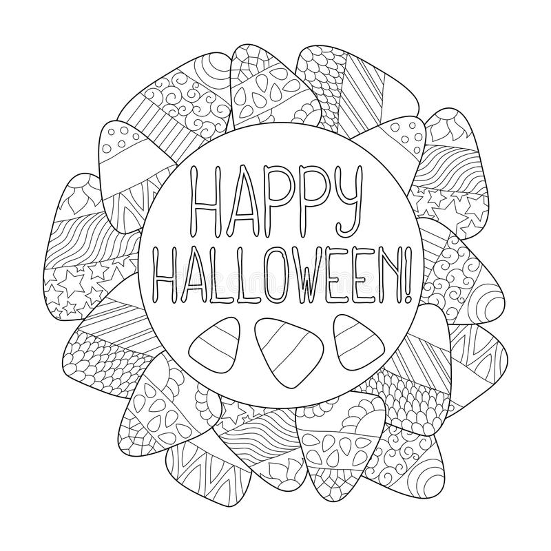 Candy Corn Coloring Page Happy Halloween Greeting Card Candy Corn Frame Stock Illustration Illustration Of Candy Lettering 101422052
