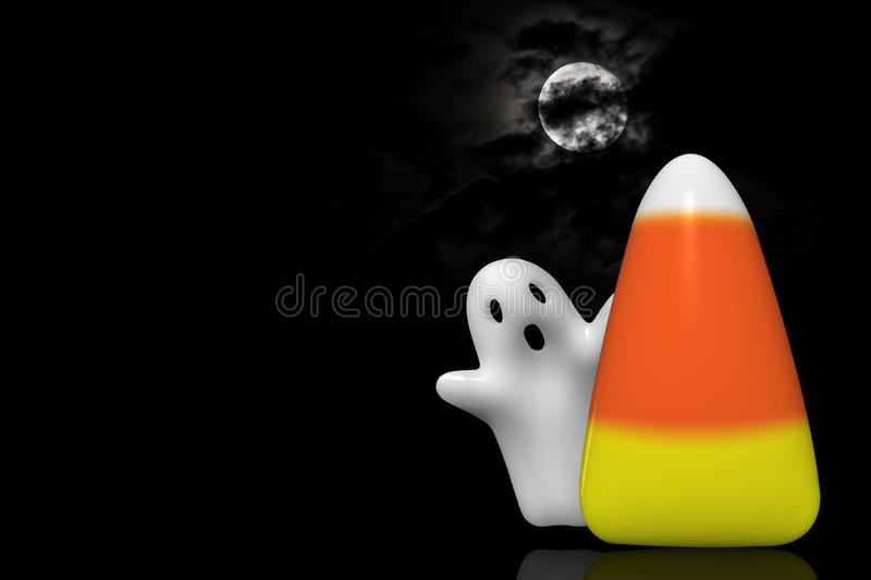 Candy Corn and Ghost. Halloween ghost flying behind a large candy corn isolated on black background royalty free stock photos