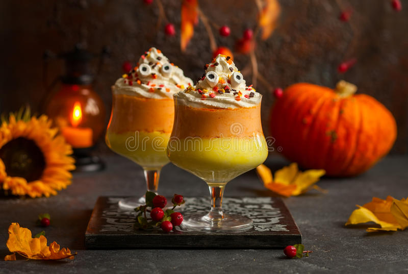 Candy corn parfait royalty free stock photography