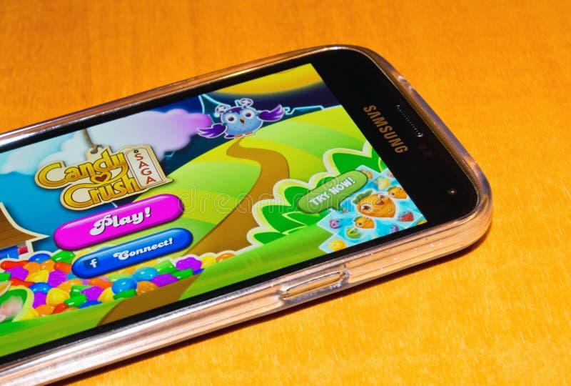 Candy crusha saga. ZAGREB , CROATIA - 04 FEBRUARY 2015 - close up of Candy crush saga game application on samsung galaxy smartphone, product shot royalty free stock photography