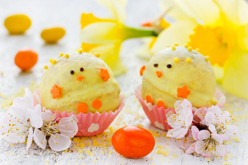 Candy decorated with fondant Easter chicks stock photography