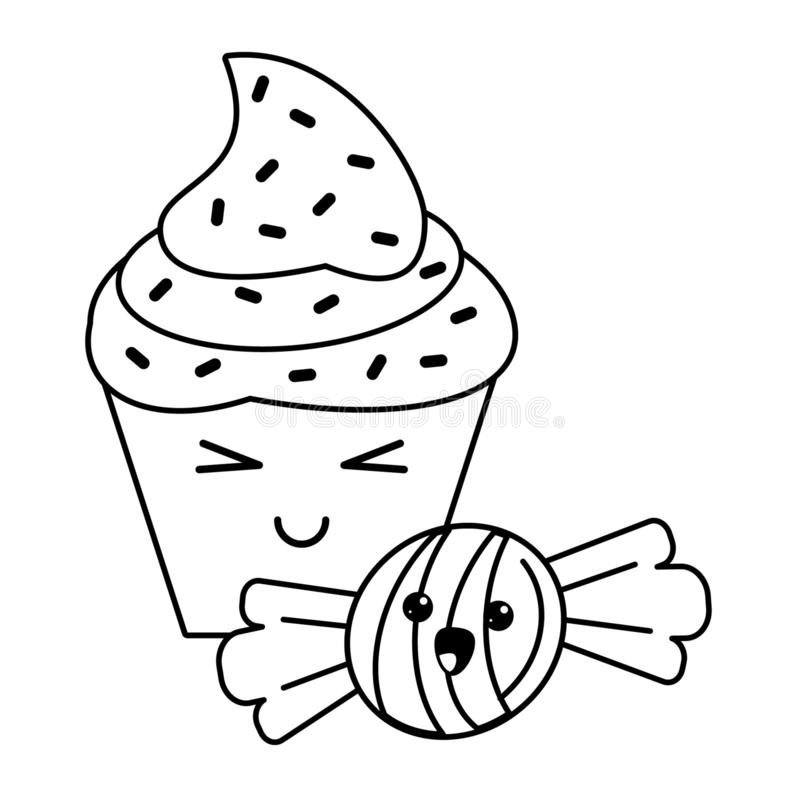 Candy and desserts kawaii cartoon in black and white. Candy and desserts kawaii cupcake and caramel cartoon vector illustration graphic design royalty free illustration