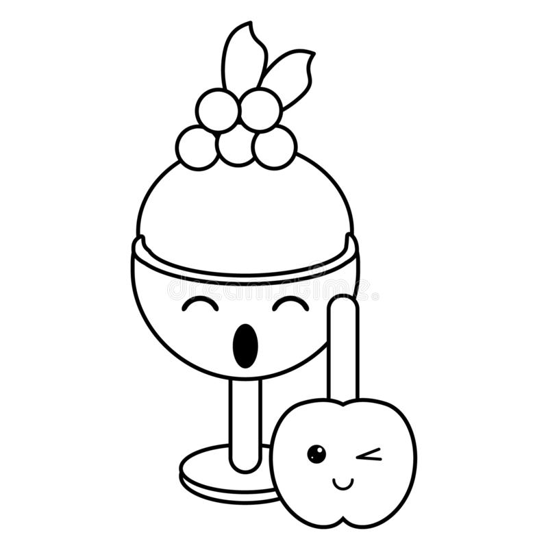 Candy and desserts kawaii cartoon in black and white. Candy and desserts kawaii ice cream cup and apple caramel cartoon vector illustration graphic design stock illustration