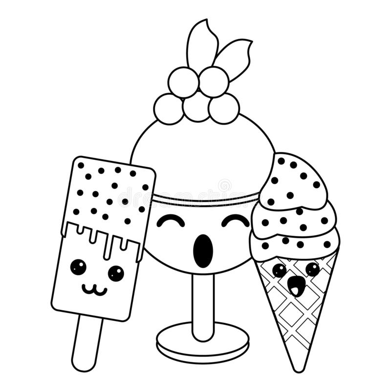 Candy and desserts kawaii cartoon in black and white. Candy and desserts kawaii ice cream popsicle and cup cartoon vector illustration graphic design stock illustration