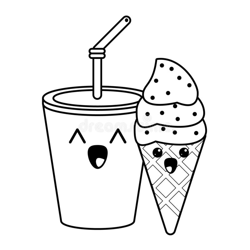 Candy and desserts kawaii cartoon in black and white. Candy and desserts kawaii soda cup and ice cream cone cartoon vector illustration graphic design royalty free illustration