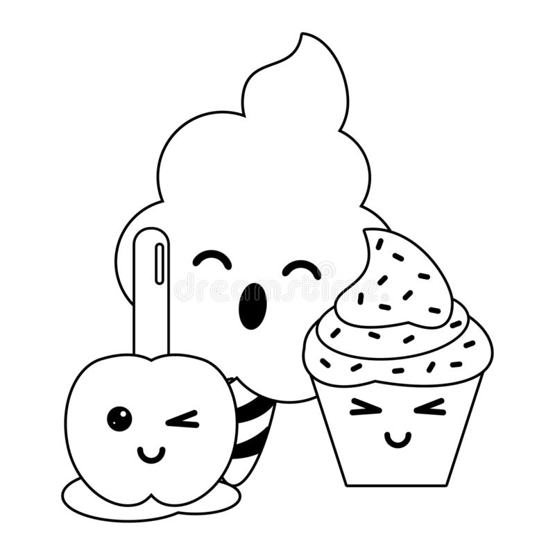 Candy and desserts kawaii cartoon in black and white. Candy and desserts kawaii sugar cotton and apple with cupcake cartoon vector illustration graphic design stock illustration