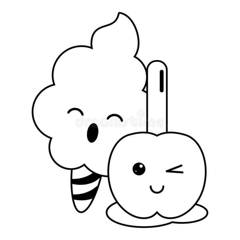 Candy and desserts kawaii cartoon in black and white. Candy and desserts kawaii sugar cotton and caramel apple cartoon vector illustration graphic design vector illustration